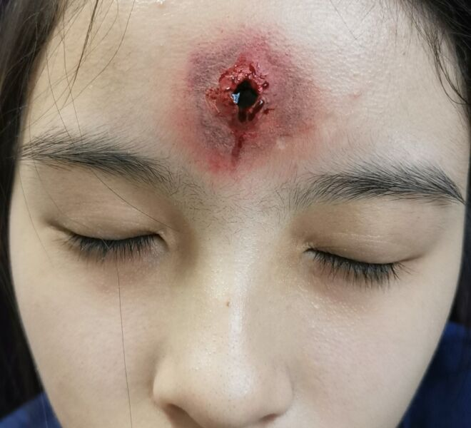 Bullet Hole Makeup for Filming